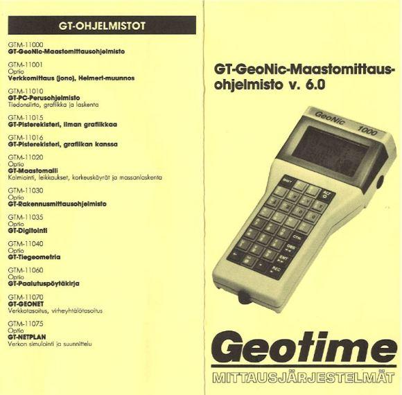 GT-ohjelmiston eri osia. Ajatus oli aikoinaan vallankumouksellinen: kaikki mittaukset ja laskennat voitiin tehdä kentällä ja työn lopussa oli mahdollista tulostaa vaikka valmis kartta.