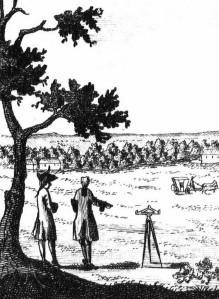 1700-luvun maanmittari työssään. Lähde: Wikimedia. Johann Heinrich von Denffer und Mitarbeiter bei der Landvermessung