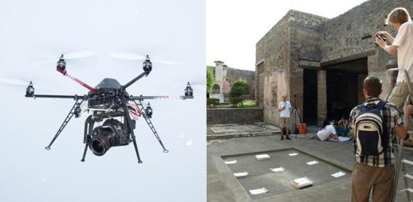 Pompei Aerial Survey projektin kuvauskopteri ja oikealla kameran kalibrointikenttä Marcus Lucretiuksen talon atriumissa.